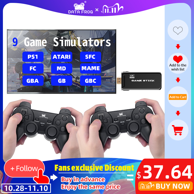 DATA FROG Game Console With 2 4G Wireless Controller HDMI Video Game Console 600 Classic Games For GBA Family TV Retro Game
