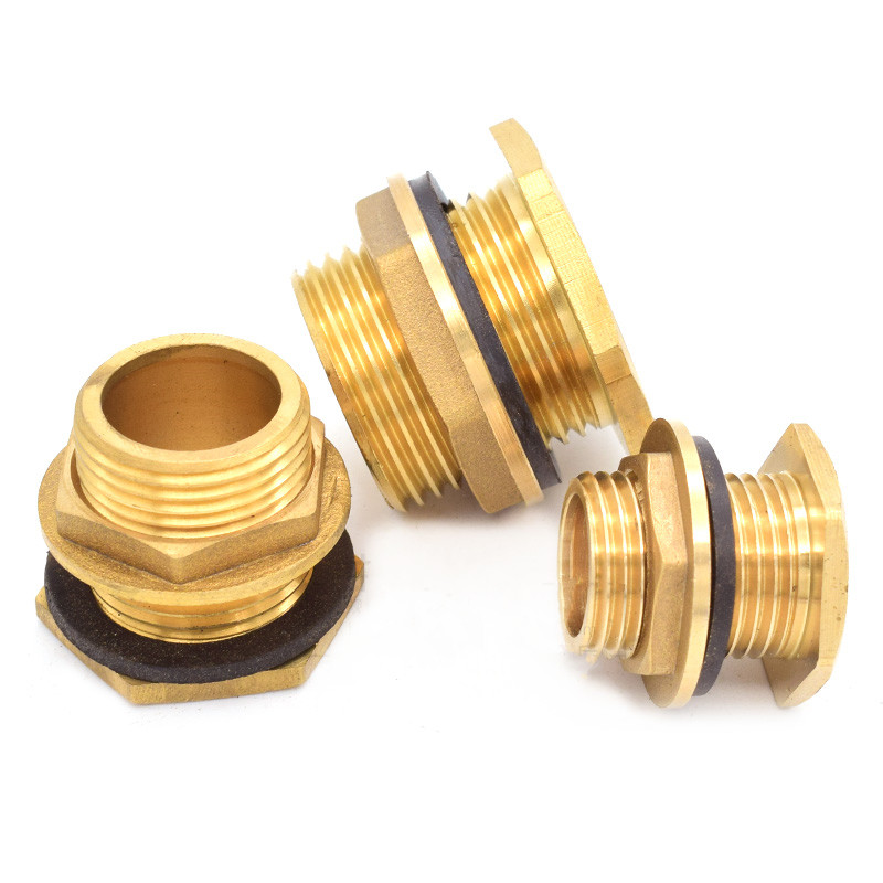 """Brass Water Tank Connector 1/2"""" 3/4"""" 1"""" BSP Threaded Male Pipe Plumbing Fittings Bulkhead Nut Jointer"""