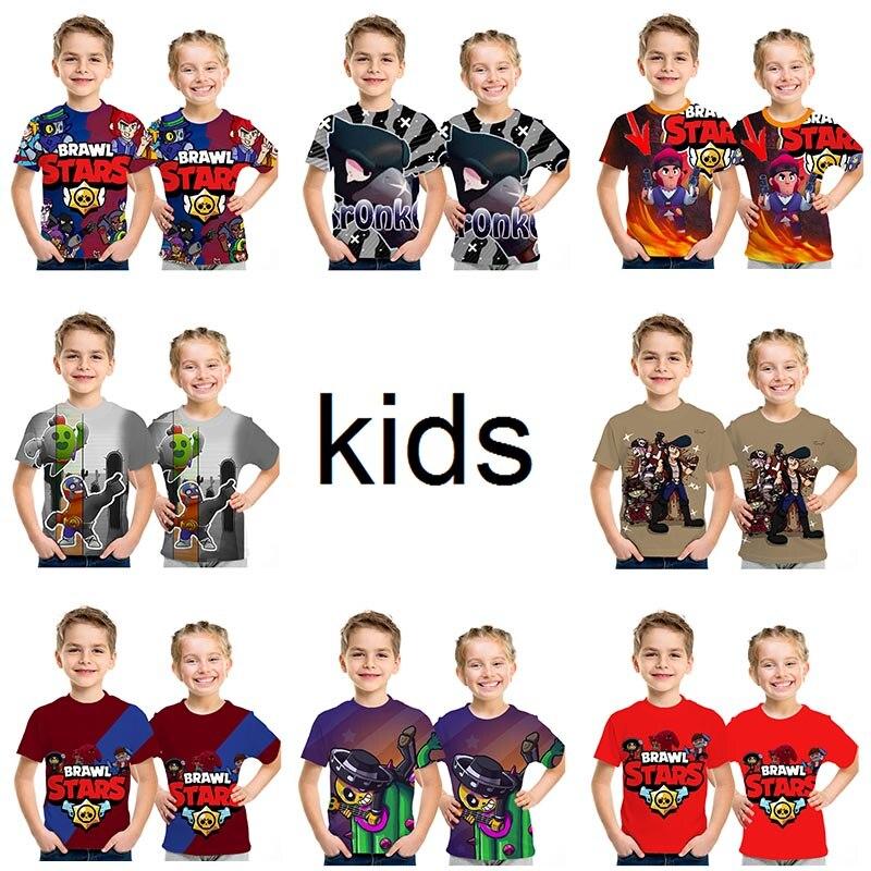 Summer 2019 New Shooting Game 3D Printed T Shirt Brawl Stars T-shirt Cartoon Fashion Short Sleeve Boys/girl Tops Size 100-160
