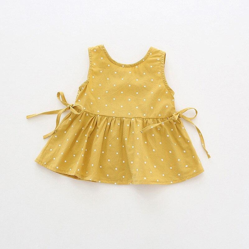 19 Summer New Style Girls Polka Dot Doll Shirt Dress Baby Heart Sleeveless Dress Korean-style Pure Cotton Childrenswear