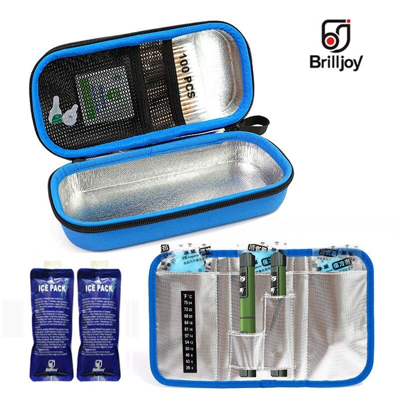 Brilljoy portátil insulina caneta saco térmico drogas diabético insulina viagem caso cooler pílula caixa bolsa térmica folha de alumínio saco de gelo