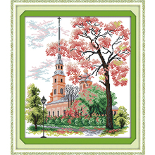 Joy Sunday,church,cross stitch embroidery kit,Scenery pattern cross stitch,Needlework counted cross-stitch patterns,cross