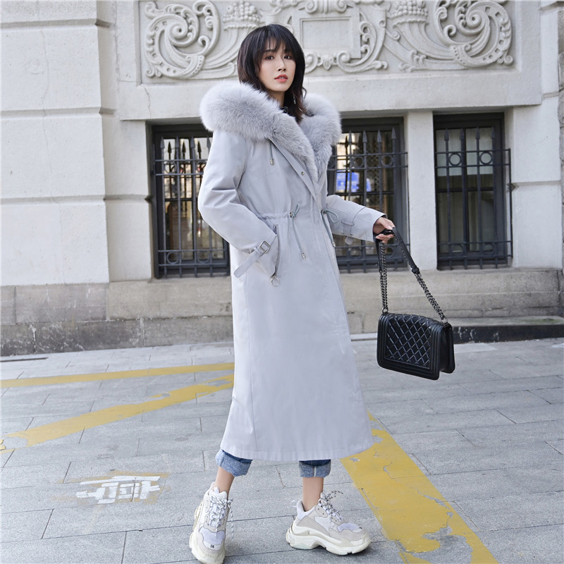 Fur Real Coat Female Rabbit Fur Liner Parka Winter Jacket Women Raccoon Fur Collar Warm Long Jackets Manteau Femme MY S