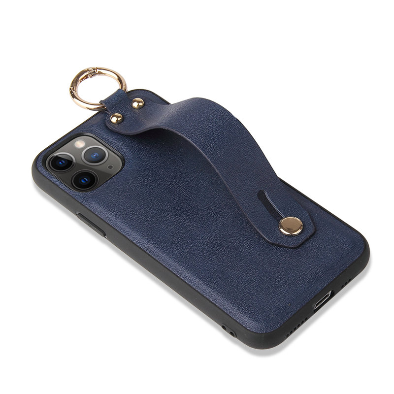 Wrist Strap Stand Holder PU Leather Phone Case For iPhone 12