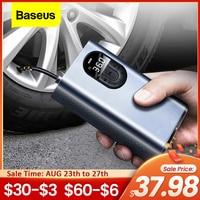 Baseus-compresor de aire de coche, de 12V eléctrico portátil Inflador de neumáticos, Mini bomba inflable de aire Digital automática para coche, bicicleta y barco
