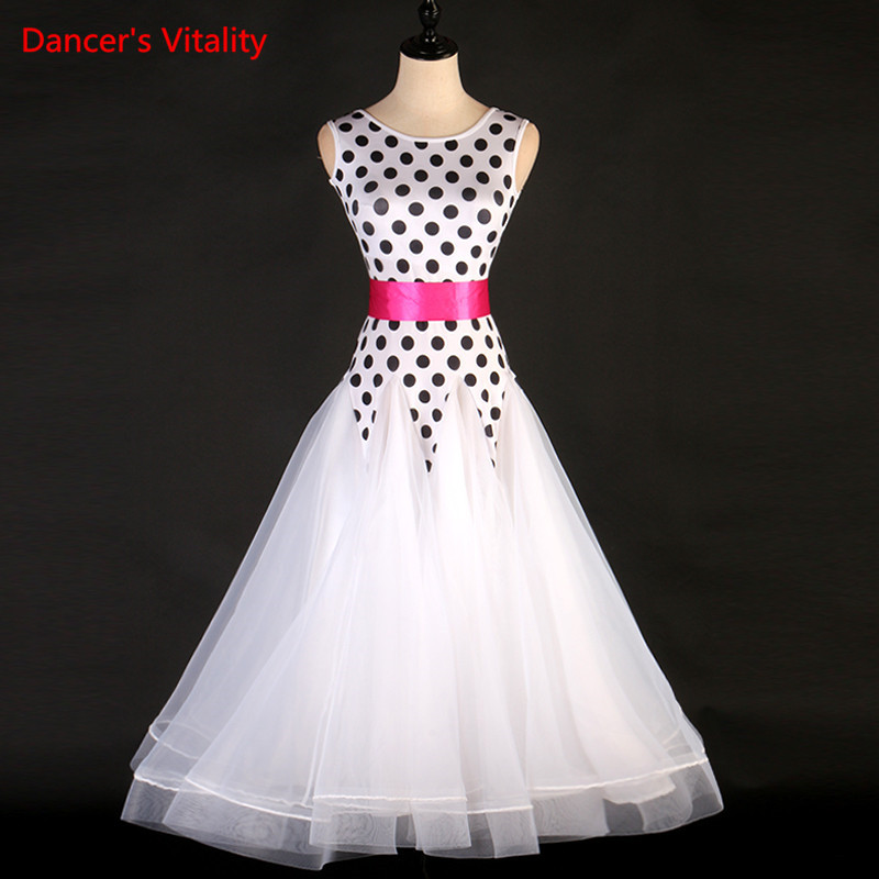 Custom Made Ballroom Dance Costumes White Sexy Spandex Sleeveless Ball Gown Pattern Ballroom Dance Competition Dresses For Girls