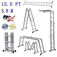 Us warehouse practical 12-step joints aluminum folding ladder silver folding telescopic ladder