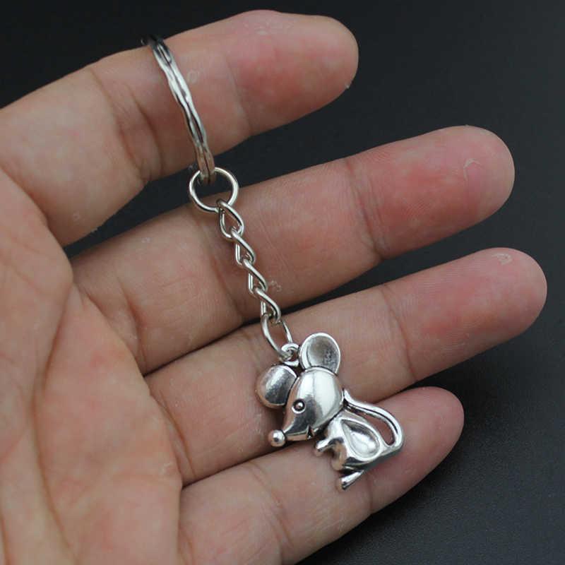 Hapiship ผู้หญิง/ผู้ชายแฟชั่น Vintage เงินสัตว์เมาส์กวางผีเสื้อ Key Chains แหวนโลหะผสม Charms ของขวัญ YSED4460