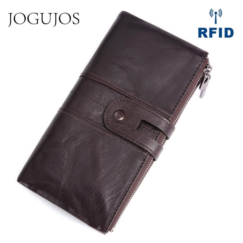 JOGUJOS New Design Women Genuine Leather Wallet Female Clutch RFID Credit Card Long Zipper Coin Purse