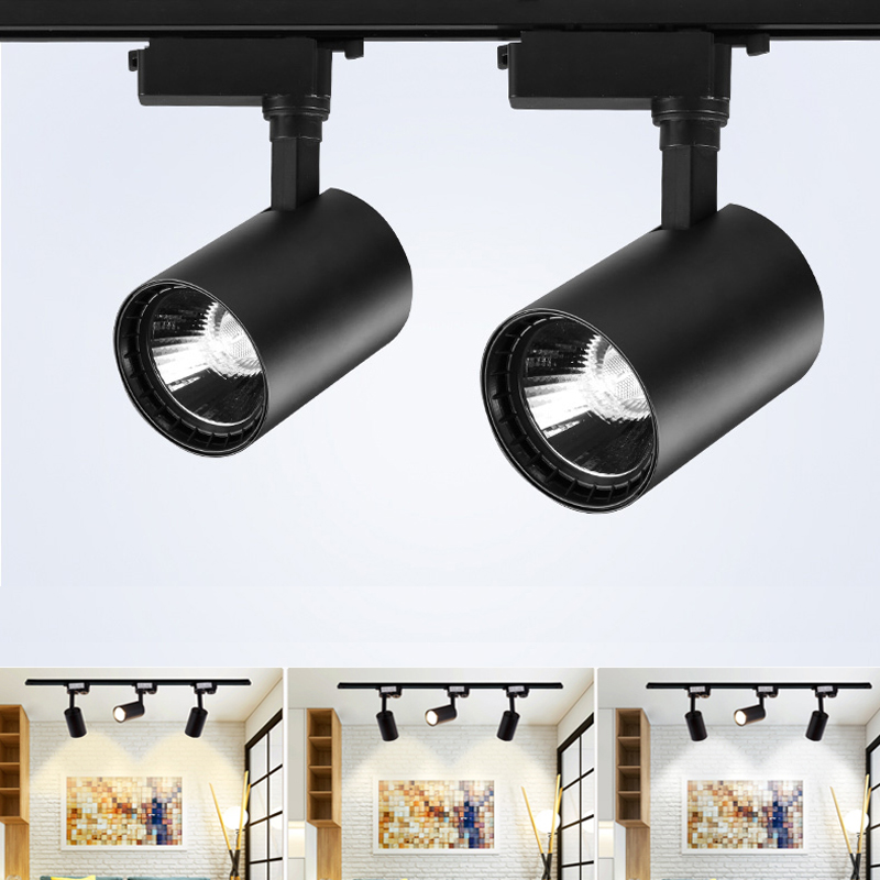220V COB Led Track Light Rail Spotlights Ceiling Lamp Black Track Lighting 12W 20W 30W Aluminum Flexible Kitchen Art Gallery