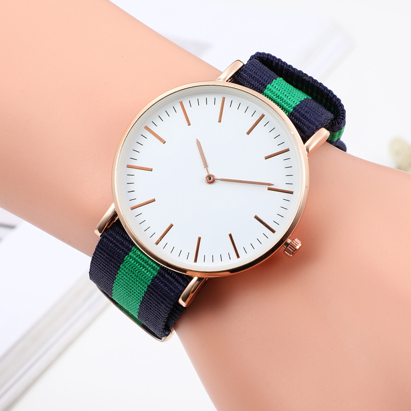 Popular Fashion Casual Women's Wrist Watches Luxury Nylon Band Gold Silver Ladies Analog Quartz Watch Dress Reloj Mujer Clock