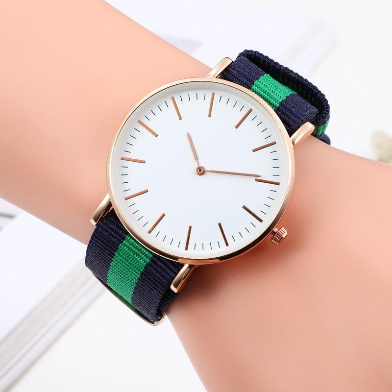 Popular Fashion Casual Women's Wrist Watches Luxury Nylon Band Gold Silver Ladies Analog Quartz Watch Dress Reloj Mujer Clock