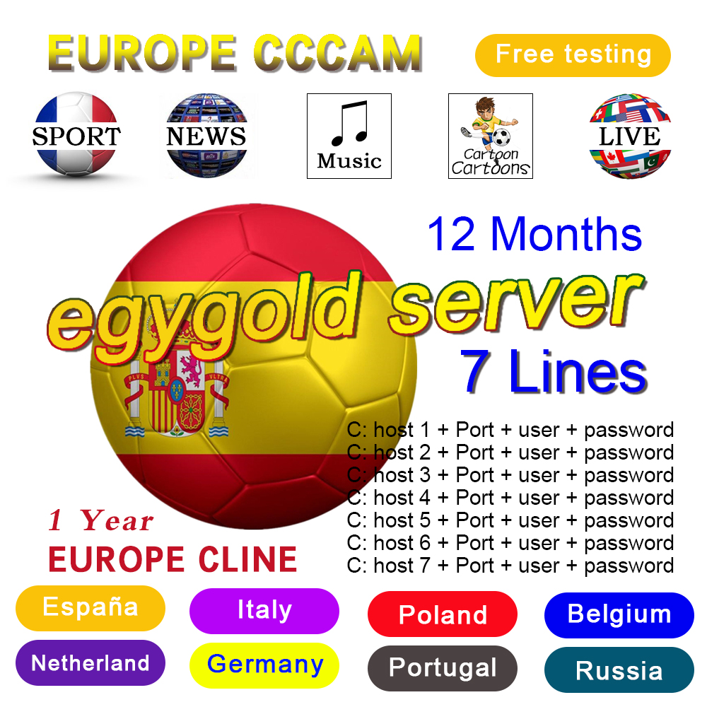 egygold cccam europa HD DVB-S2 Spain lines for 1 Year support TV Receiver GTmedia V8 Nova V7S V9 Freesat V7 Ccam free test