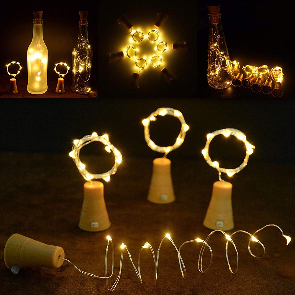 Solar Powered Wine Bottle Lights 20 LED Cork Shape String Lights Copper Wire Fairy Light for Holiday Christmas Party Wedding
