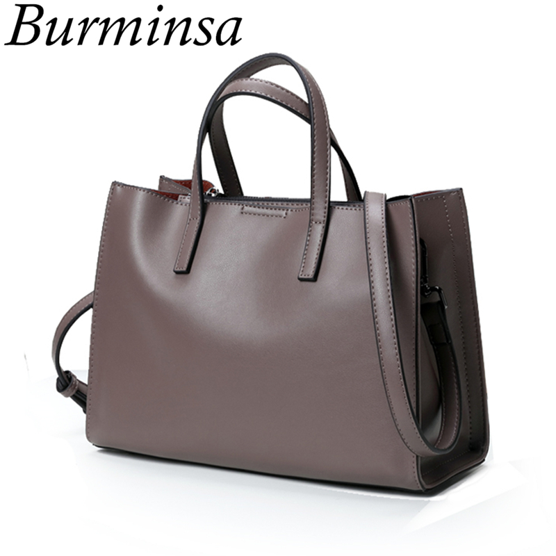 Burminsa Minimalist Medium Genuine Leather Shoulder Bags Large Capacity Women Messenger Bags Soft Female Handbags Autumn 2019