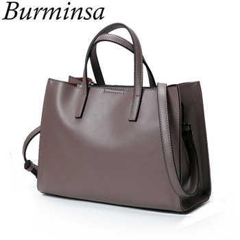 Burminsa Minimalist Medium Genuine Leather Shoulder Bags Large Capacity Women Messenger Bags Soft Female Handbags Autumn 2019 - DISCOUNT ITEM  49% OFF All Category
