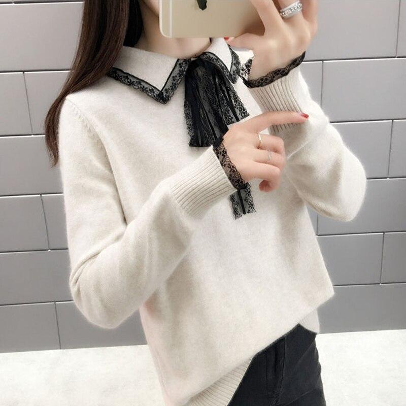 Lucyever модный вязаный женский свитер с длинным рукавом и отложным воротником, женские свитера 2019, зимний женский свитер, вязаные пуловеры