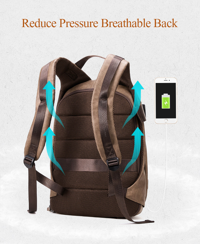 H238dda1c99a64f7db85a35cbb4f9b9d9M - DIDE Male Backpack USB Charge Waterproof 15.6 inch Laptop Backpack Leather Travel Casual Vintage School Bag For Men Black