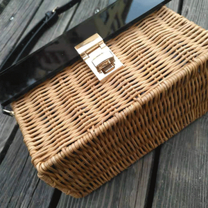 Image 5 - Fashion new acrylic flip straw braided bag wooden handle woven bag handmade holiday travel rattan bag