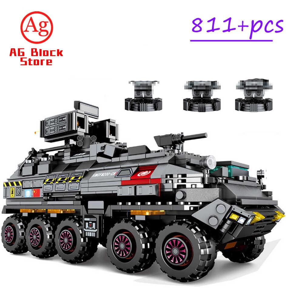 Wandering EarthทหารSEMBO BLOCKถังถังCarrierรถบรรทุกTechnic Building Blocksรถอิฐสร้างของเล่น