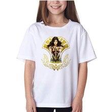 Mulheres maravilha impresso menina t camisas super-herói comics crianças camiseta verão moda crianças topos camisa estilo europeu tendência