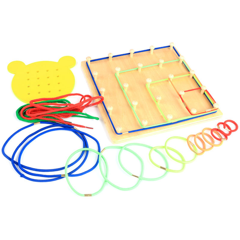 Hot-Wooden Toys Wind The Rope On Wooden Nail Math Educational Toy Wood Nail Board Bear Board Threading Plate