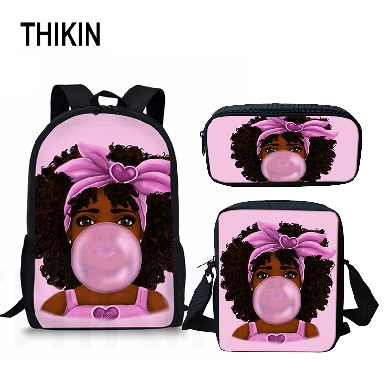 THIKIN Art African Girl Print Student School Backpack Casual Book Bag School Bag 3Set For Teenage Boys Girls Mochila Wholesale