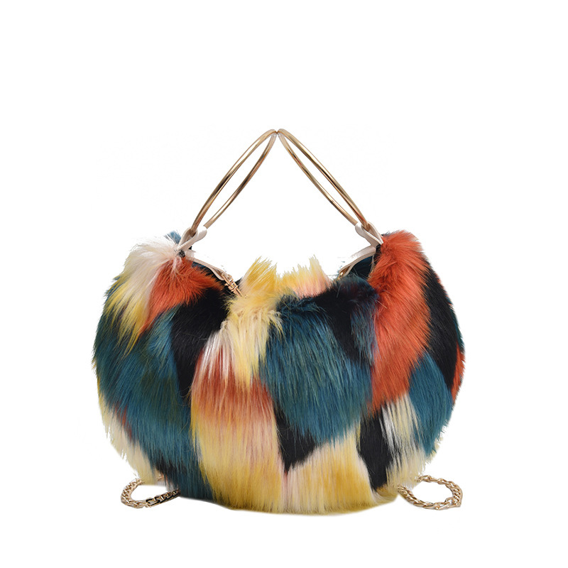 Luxury Brand Women Handbags 2019 New Winter Shoulder Bags  Faux Fur Evening Clutch Bag High Quality Ladies Party Chain Crossbody