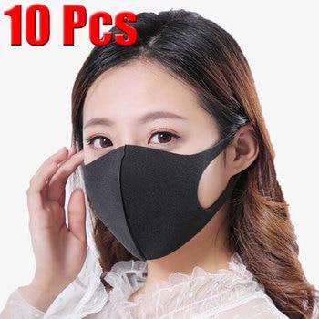 10 Pcs Black Reusable Vogue Anti-Infection Virus Mouthmask New Unisex Anti-dust Mouth Facemask Washable Breath Straps Wholesale