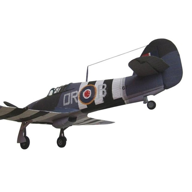 1:33 British Hurricane Fighter DIY 3D Paper Card Model Military Educational Sets Construction Model Building Toys Toys C7I9 4