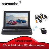Carsanbo Drahtlose Rückansicht Kamera Fahrzeug Faltbare Monitor Video System Auto Parkplatz Monitor Mit Reverse Kamera Optional