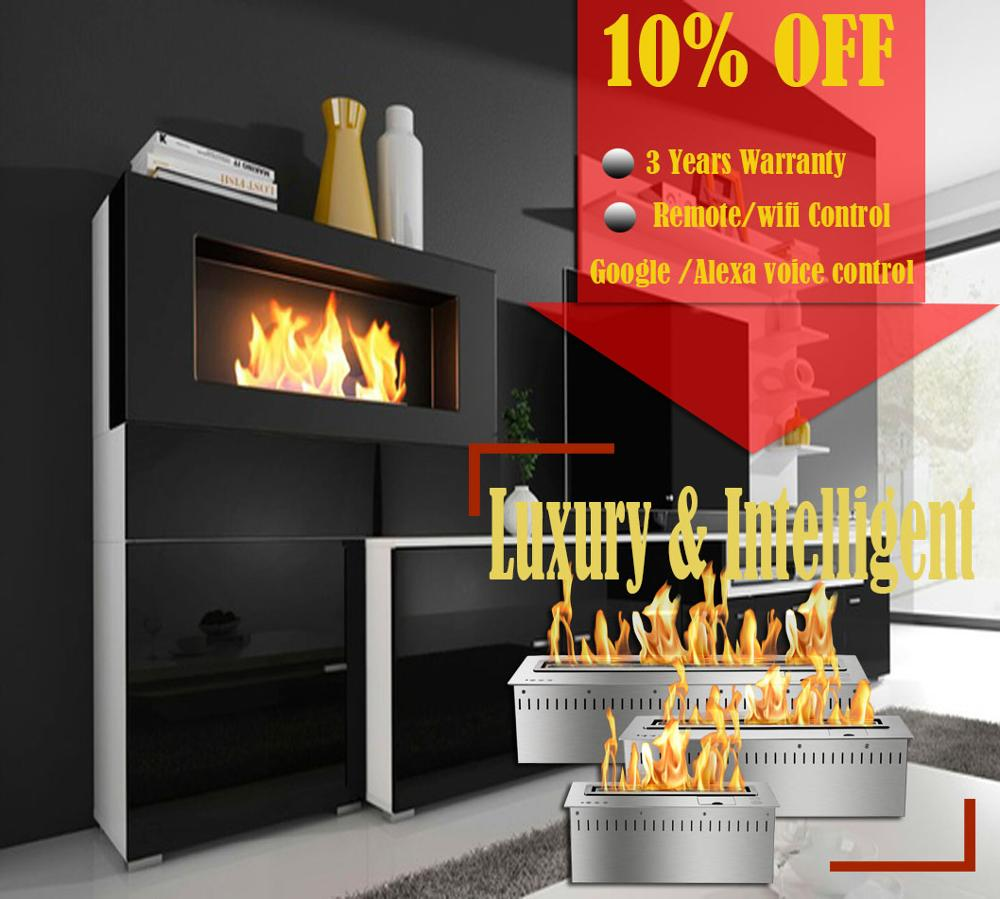 Inno Living Fire 48 Inch Real Fire Stainless Steel Manual Bio Ethanol Fireplace Wall