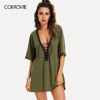 COLROVIE Army Green Lace Up Plunging Dress Women Half Sleeve Solid Sexy Mini Dress 2019 Summer Ladies A Line Casual Dresses