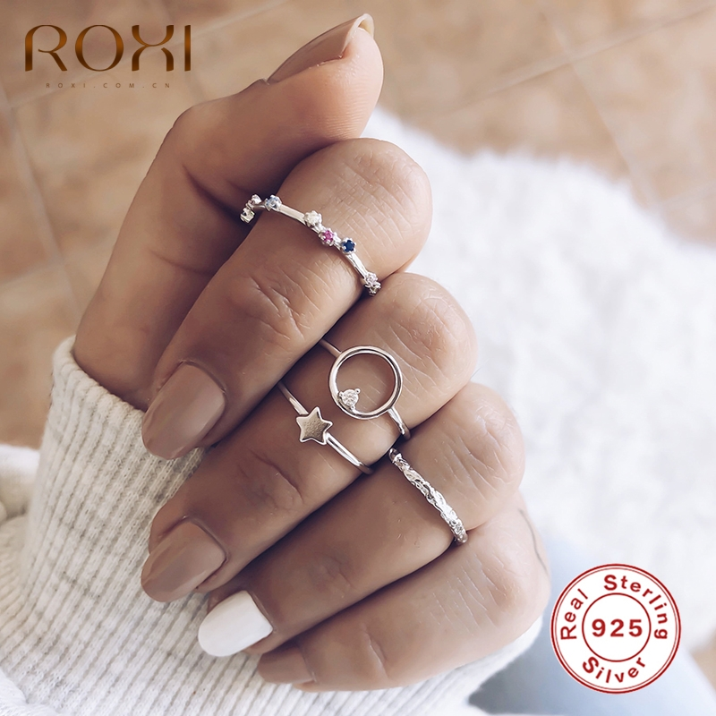 ROXI Minimalist Irregular 925 Sterling Silver Fine Ring Gold Plated Open Finger Rings for Women Wedding Engagement Anillos Ring
