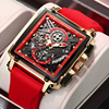 LIGE 2021 Men Watch Top Brand Luxury Waterproof Quartz Square Wrist Watches for Men Date Sports Silicone Clock Male Montre Homme 1