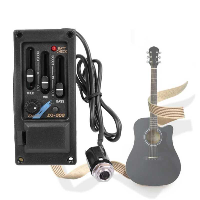 EQ-505 guitarra sillín Pickup 3 bandas EQ ecualizador izquierda guitarra acústica Sistema de preamplificador piezer