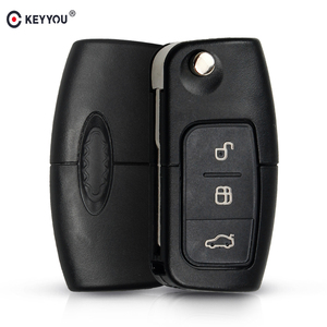 KEYYOU 433MHz 4D63 Chip 3 Buttons Flip Folding Remote Control Key for Ford Focus Fiesta 2013 Fob Case With HU101 Blade(China)