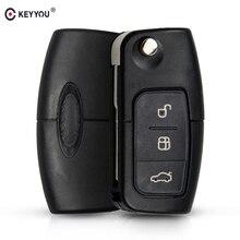 KEYYOU 433MHz 4D63 Chip 3 Tasten Flip Klapp Fernbedienung Schlüssel für Ford Focus Fiesta 2013 Fob Fall Mit HU101 Klinge