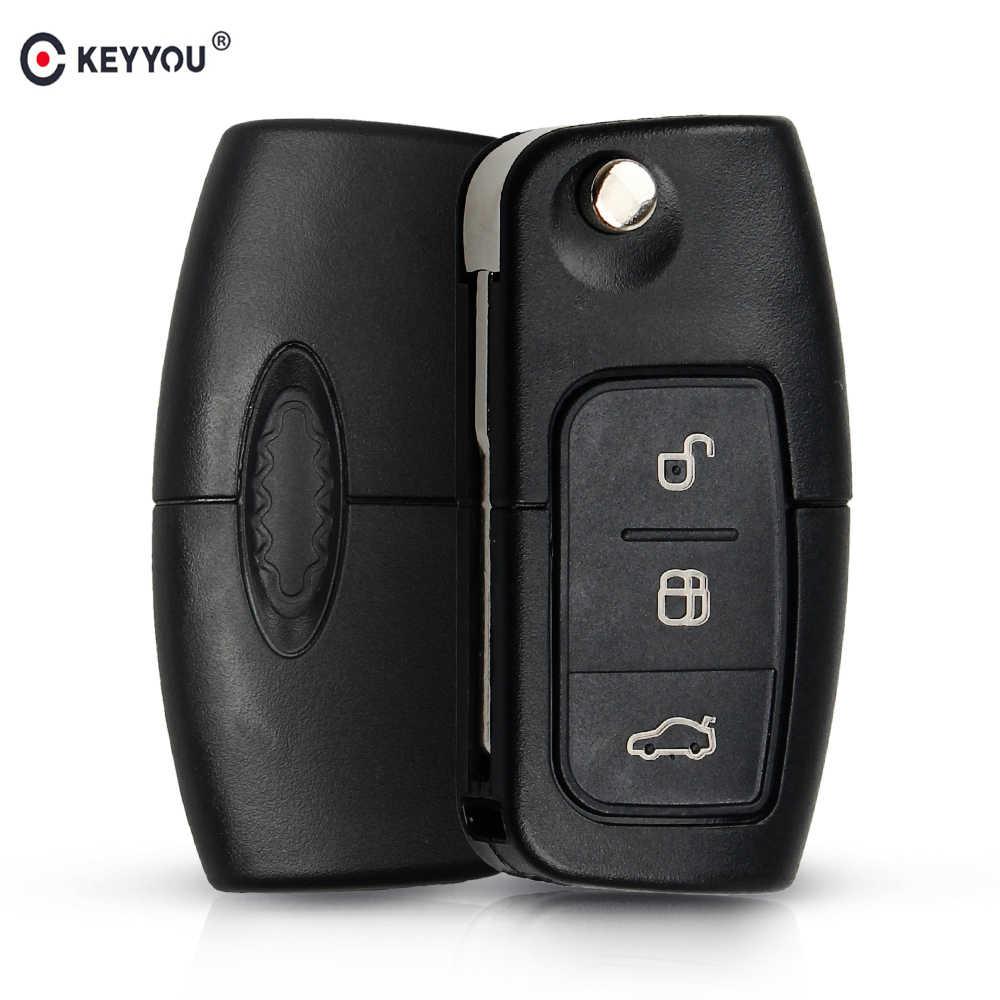 KEYYOU 433MHz 4D63 Chip 3 przyciski odwróć składany zdalnie sterowany klucz do Ford Focus Fiesta 2013 obudowa pilota z ostrzem HU101