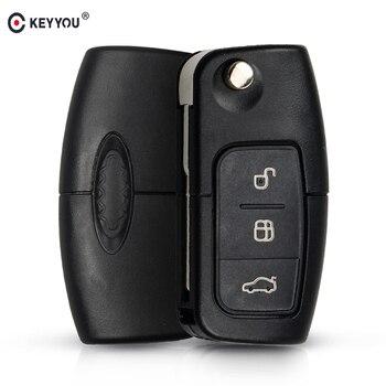 KEYYOU 433MHz 4D63 puce 3 boutons clé de télécommande pliable pour Ford Focus Fiesta 2013 boîtier Fob avec lame HU101