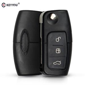 Image 1 - Keyyou 433mhz 4d63 chip 3 botões flip dobrável chave de controle remoto para ford focus fiesta 2013 fob caso com hu101 lâmina