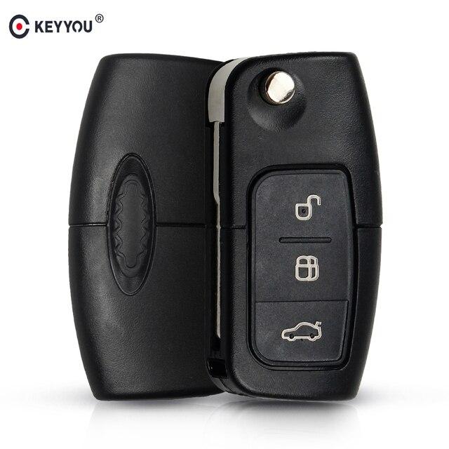 Keyyou 433mhz 4d63 chip 3 botões flip dobrável chave de controle remoto para ford focus fiesta 2013 fob caso com hu101 lâmina