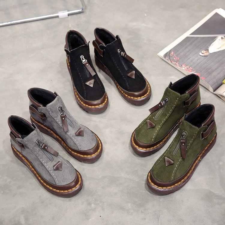 2020 moda quente da pele das mulheres botas de neve plana inverno sapatos femininos ankle boots moda feminina antiderrapante básico sapatos casuais e072