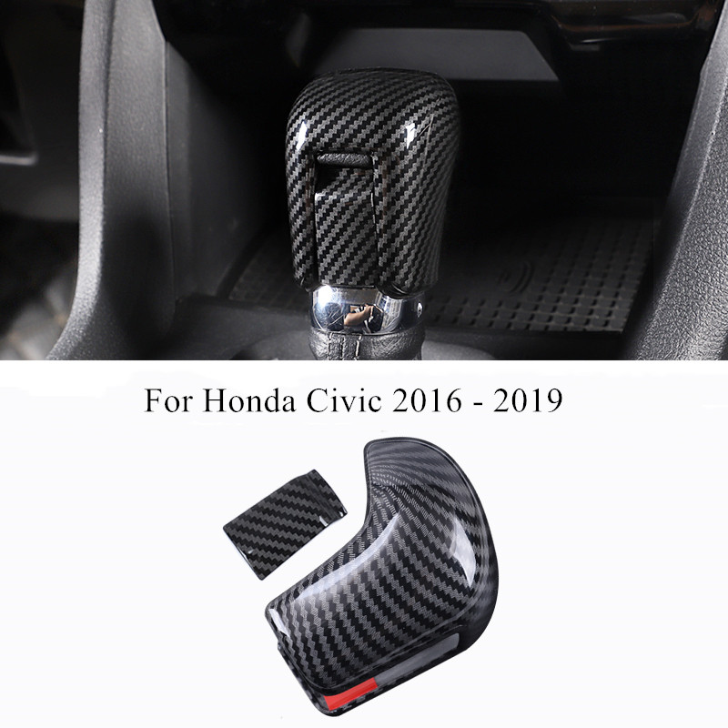 Gear Shift Head Cover Trim ABS Carbon Fiber Interior Decoration For Honda Civic 2016 2017 2018 2019 Car Styling Accessories