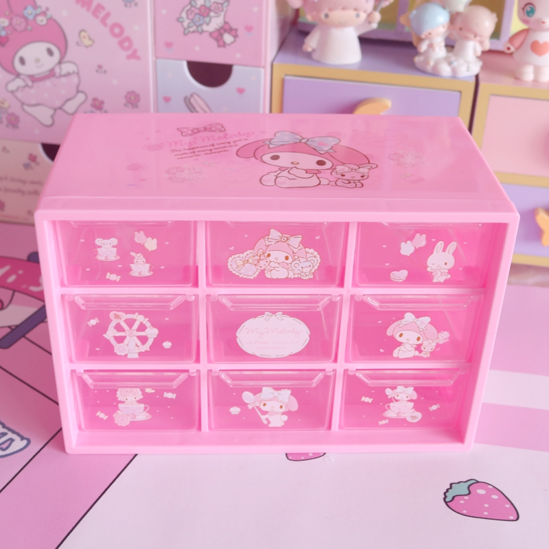 Cute 9-Grid Melody Desktop Drawer Container Pink Plastic Storage Box Dolls Collection For Girls Gifts