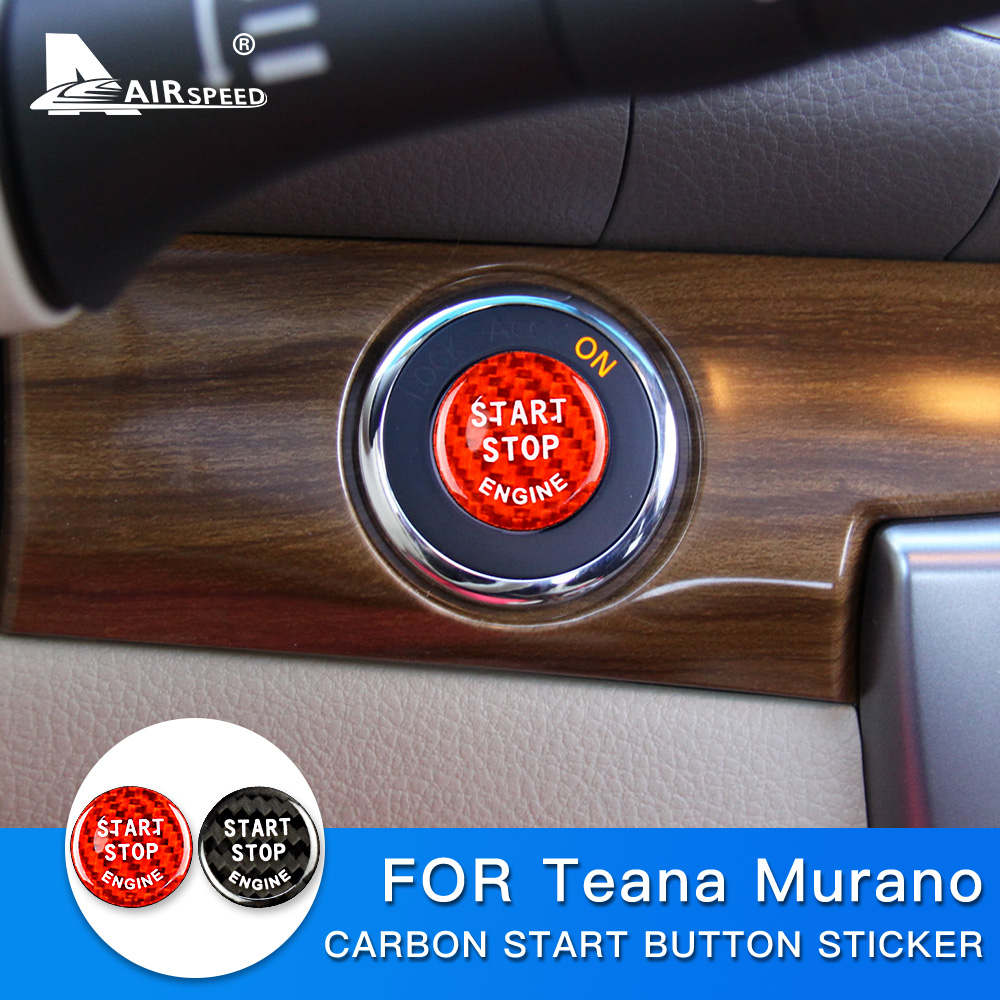 Red AIRSPEED Carbon Fiber Car Engine Start Button Sticker for Nissan Teana Murano