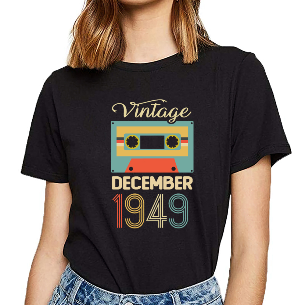 Tops T <font><b>Shirt</b></font> Women vintage december 1949 70th <font><b>birthday</b></font> <font><b>70</b></font> year Kawaii Inscriptions Short Female Tshirt image