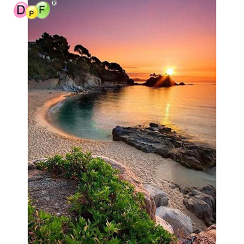 5D DIY full square/round Diamond mosaic diamond embroidery Landscape sea side embroidered Cross Stitch Home decoration Gift image