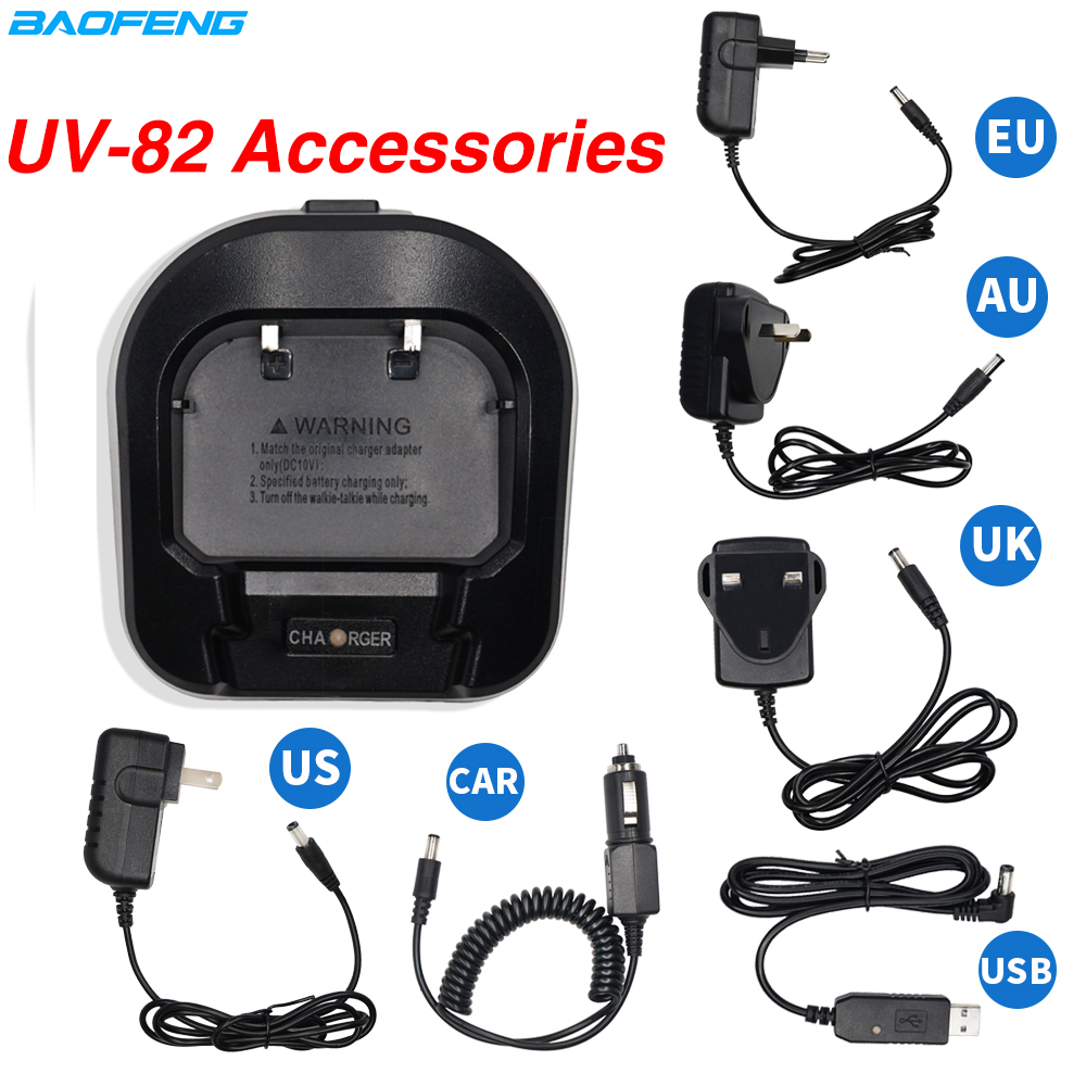 Baofeng UV-82 Walkie Talkie EU/US/UK/AU Plug Car Charger Adapter Base For Baofeng UV 82 UV-82hp Two Way Radio UV82 Accessories