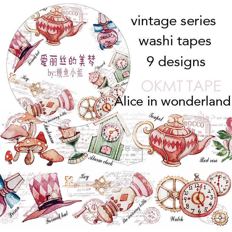 Alice In Wonderland Masking Tape Washi Tapes Scrapbooking Stickers Papeleria Washitape
